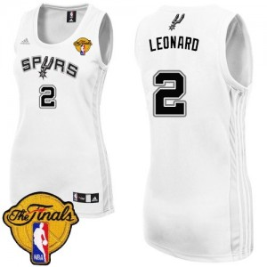 Maillot Adidas Blanc Home Finals Patch Authentic San Antonio Spurs - Kawhi Leonard #2 - Femme