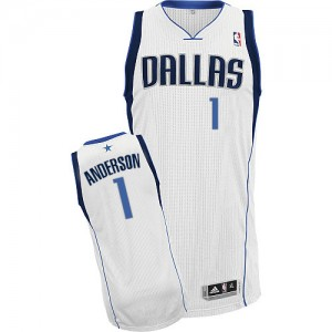 Maillot Adidas Blanc Home Authentic Dallas Mavericks - Justin Anderson #1 - Homme