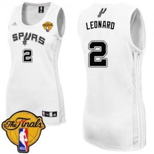 San Antonio Spurs Kawhi Leonard #2 Home Finals Patch Swingman Maillot d'équipe de NBA - Blanc pour Femme