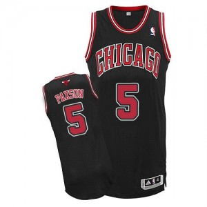 Maillot Adidas Noir Alternate Authentic Chicago Bulls - John Paxson #5 - Homme