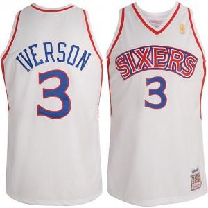 Maillot Authentic Philadelphia 76ers NBA Throwback Blanc - #3 Allen Iverson - Enfants