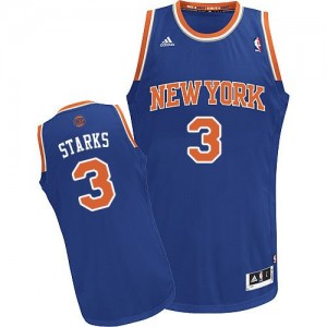 Maillot NBA New York Knicks #3 John Starks Bleu royal Adidas Swingman Road - Homme