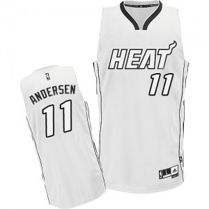 Maillot NBA Blanc Chris Andersen #11 Miami Heat Authentic Homme Adidas