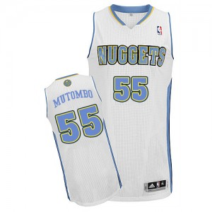 Maillot NBA Authentic Dikembe Mutombo #55 Denver Nuggets Home Blanc - Homme