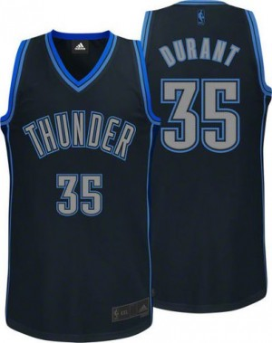 Maillot NBA Authentic Kevin Durant #35 Oklahoma City Thunder Graystone Fashion Noir - Homme