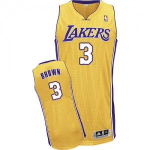 Maillot NBA Or Anthony Brown #3 Los Angeles Lakers Home Authentic Homme Adidas