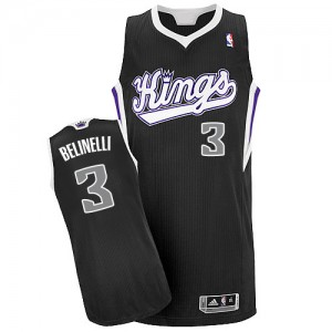 Maillot NBA Sacramento Kings #3 Marco Belinelli Noir Adidas Authentic Alternate - Homme