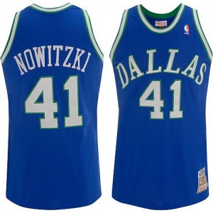 Dallas Mavericks #41 Mitchell and Ness Throwback Bleu Authentic Maillot d'équipe de NBA la meilleure qualité - Dirk Nowitzki pour Homme