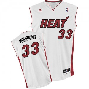 Maillot NBA Miami Heat #33 Alonzo Mourning Blanc Adidas Swingman Home - Homme