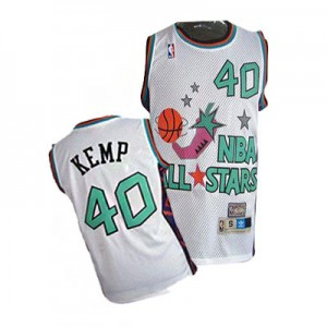 Oklahoma City Thunder Shawn Kemp #40 SuperSonics 1995 All Star Authentic Maillot d'équipe de NBA - Blanc pour Homme