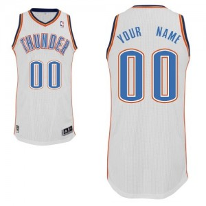 Maillot NBA Authentic Personnalisé Oklahoma City Thunder Home Blanc - Homme