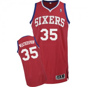 Maillot Authentic Philadelphia 76ers NBA Road Rouge - #35 Clarence Weatherspoon - Homme