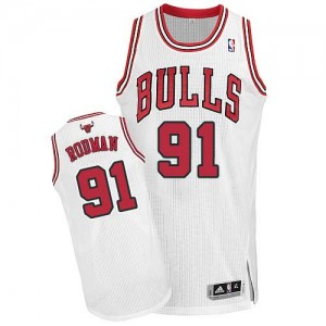 Maillot NBA Chicago Bulls #91 Dennis Rodman Blanc Adidas Authentic Home - Homme