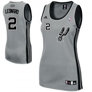 Maillot Adidas Gris argenté Alternate Authentic San Antonio Spurs - Kawhi Leonard #2 - Femme