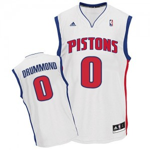 Maillot NBA Detroit Pistons #0 Andre Drummond Blanc Adidas Swingman Home - Homme