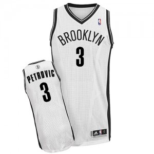 Brooklyn Nets #3 Adidas Home Blanc Authentic Maillot d'équipe de NBA boutique en ligne - Drazen Petrovic pour Homme