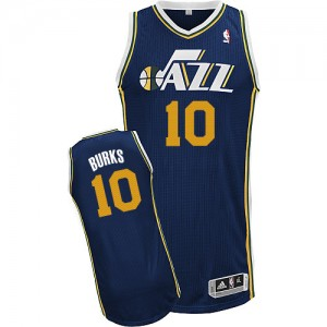 Maillot NBA Utah Jazz #10 Alec Burks Bleu marin Adidas Authentic Road - Homme
