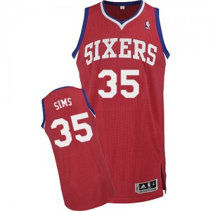 Maillot Adidas Rouge Road Authentic Philadelphia 76ers - Henry Sims #35 - Homme