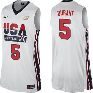 Team USA Nike Kevin Durant #5 2012 Olympic Retro Authentic Maillot d'équipe de NBA - Blanc pour Homme