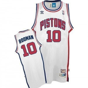 Maillot NBA Blanc Dennis Rodman #10 Detroit Pistons Throwback Authentic Homme Adidas