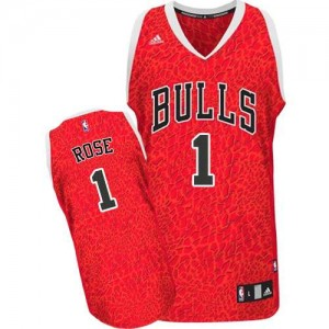 Maillot NBA Rouge Derrick Rose #1 Chicago Bulls Crazy Light Authentic Homme Adidas