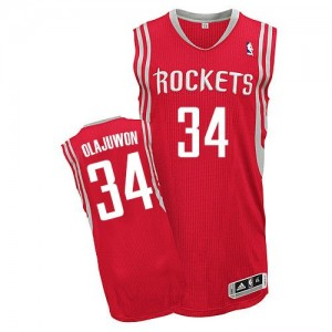 Maillot Adidas Rouge Road Authentic Houston Rockets - Hakeem Olajuwon #34 - Homme