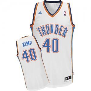 Oklahoma City Thunder Shawn Kemp #40 Home Swingman Maillot d'équipe de NBA - Blanc pour Homme