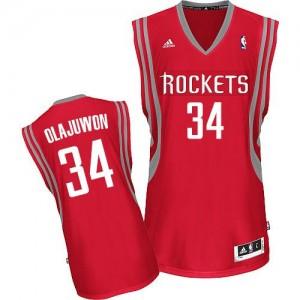 Houston Rockets Hakeem Olajuwon #34 Road Swingman Maillot d'équipe de NBA - Rouge pour Homme