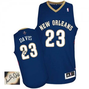 Maillot Adidas Bleu marin Road Autographed Authentic New Orleans Pelicans - Anthony Davis #23 - Homme