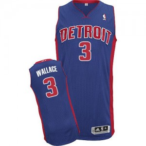 Maillot NBA Detroit Pistons #3 Ben Wallace Bleu royal Adidas Authentic Road - Homme