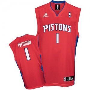 Maillot NBA Detroit Pistons #1 Allen Iverson Rouge Adidas Swingman - Homme