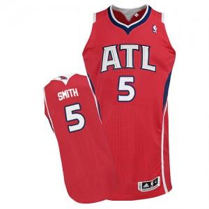Atlanta Hawks #5 Adidas Alternate Rouge Authentic Maillot d'équipe de NBA Expédition rapide - Josh Smith pour Homme