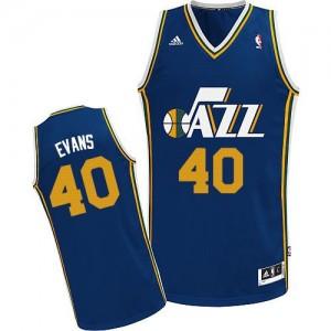 Maillot NBA Bleu marin Jeremy Evans #40 Utah Jazz Road Swingman Homme Adidas
