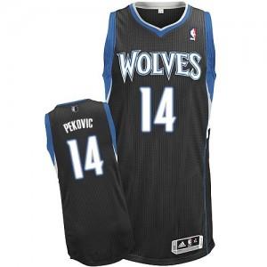 Minnesota Timberwolves #14 Adidas Alternate Noir Authentic Maillot d'équipe de NBA Le meilleur cadeau - Nikola Pekovic pour Homme
