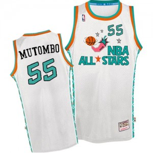 Maillot NBA Swingman Dikembe Mutombo #55 Denver Nuggets Throwback 1996 All Star Blanc - Homme