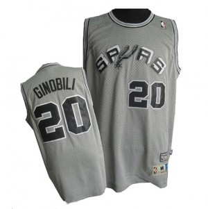 Maillot NBA Authentic Manu Ginobili #20 San Antonio Spurs Throwback Finals Patch Gris - Homme