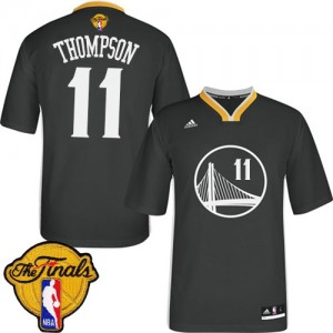 Maillot NBA Golden State Warriors #11 Klay Thompson Noir Adidas Swingman Alternate 2015 The Finals Patch - Femme