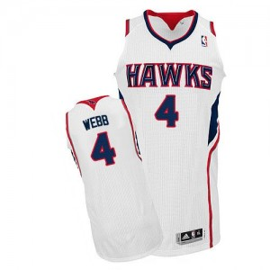 Maillot Authentic Atlanta Hawks NBA Home Blanc - #4 Spud Webb - Homme