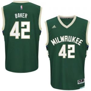 Maillot NBA Vert Vin Baker #42 Milwaukee Bucks Road Swingman Homme Adidas
