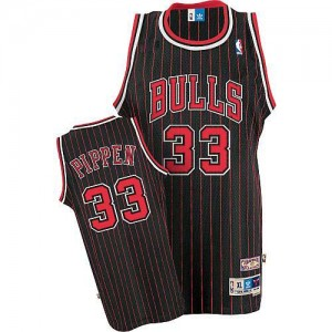 Maillot Adidas Noir Rouge Throwback Authentic Chicago Bulls - Scottie Pippen #33 - Homme
