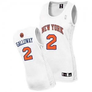 New York Knicks #2 Adidas Home Blanc Authentic Maillot d'équipe de NBA Expédition rapide - Langston Galloway pour Femme