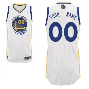 Maillot NBA Blanc Authentic Personnalisé Golden State Warriors Home Homme Adidas