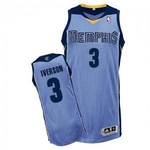 Maillot Adidas Bleu clair Alternate Authentic Memphis Grizzlies - Allen Iverson #3 - Homme