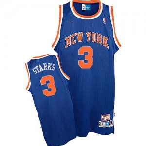 Maillot NBA New York Knicks #3 John Starks Bleu royal Adidas Authentic Throwback - Homme