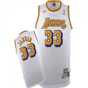 Maillot Authentic Los Angeles Lakers NBA Throwback Blanc - #33 Kareem Abdul-Jabbar - Homme