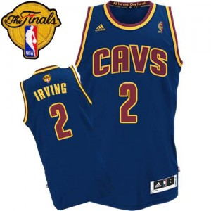 Maillot NBA Cleveland Cavaliers #2 Kyrie Irving Bleu marin Adidas Swingman CavFanatic 2015 The Finals Patch - Homme
