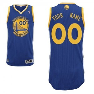 Maillot NBA Bleu royal Authentic Personnalisé Golden State Warriors Road Homme Adidas