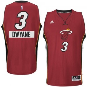 Miami Heat Dwyane Wade #3 2014-15 Christmas Day Authentic Maillot d'équipe de NBA - Rouge pour Enfants